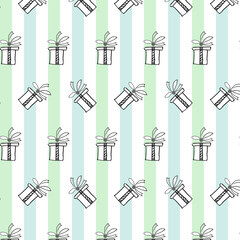 Cute seamless pattern with present boxes