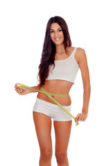 Girl in white underwear with a tape measure around her waist