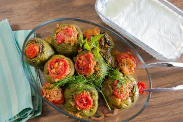 Turkish Stuffed Green Pepper Dolma's with Yogurt