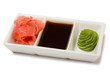 Pickled ginger with soy sauce and wasabi for sushi