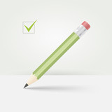 Green wooden pencil