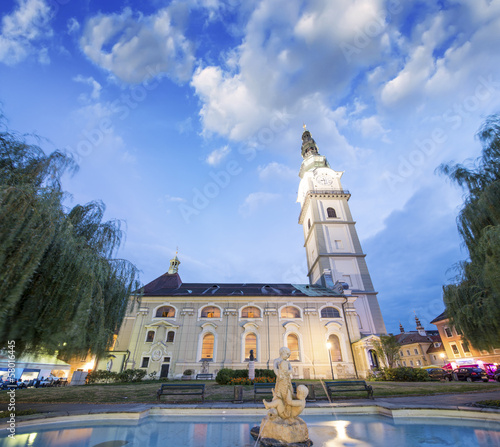 Beautiful Church and square of Klagenfurt, Austria
