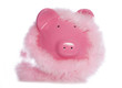 Piggy bank wearing fluffy garland