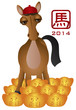 2014 Chinese New Year Horse with Gold Bars Illustration