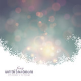 Fototapety snowy winter background with defocused lights