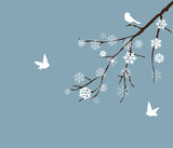 vector snow branch with white birds