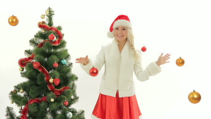 Woman dressed as Santa on Christmas costume party