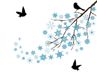 vector snow branch with black bird
