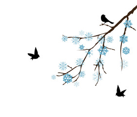 vector snow branch with birds