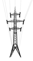 Power transmission tower with wires. Vector EPS10.