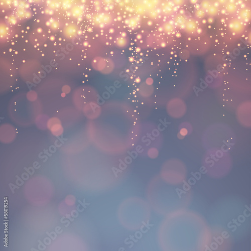 festive background with descending lights and bokeh