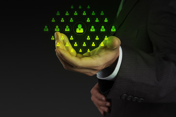 businessman hand show icon customer care