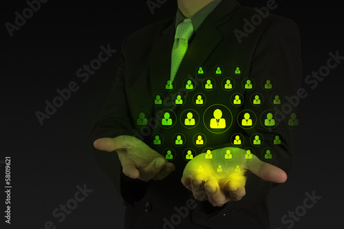 businessman hand show icon customer care as concept