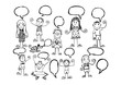 Hand drawn people  and speech bubbles set