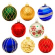 Eight unique Christmas bauble decorations isolated on white