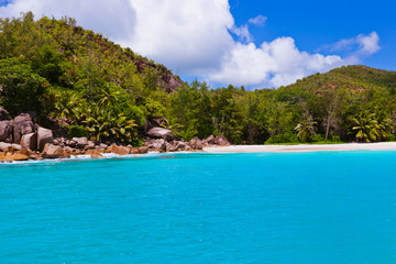 Tropical beach at island Praslin Seychelles