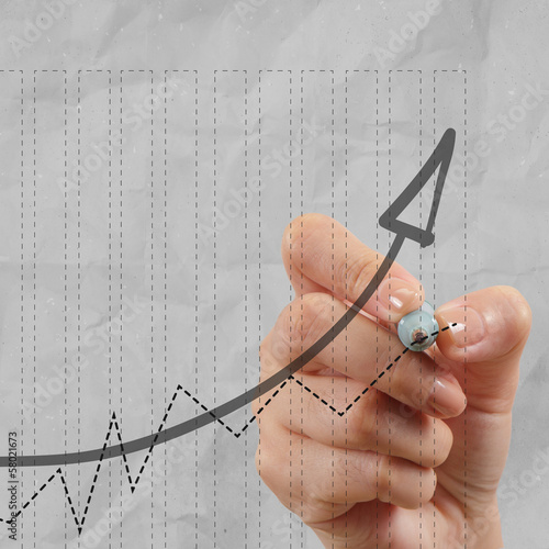 close up of hand draws business success chart concept on virtual