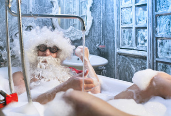 Santa Claus in the bathroom