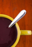 Traditional Ecuatorian dish, colada morada on yellow pot poster
