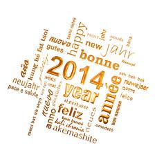 2014, nuage de mots multilingue doré fond blanc