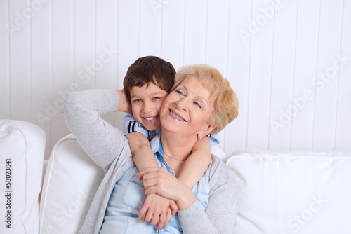 Lovely little boy with his grandmother