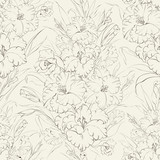 Seamless pattern  beautiful fresh iris flowers.
