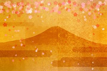 金屏風の富士山と桜