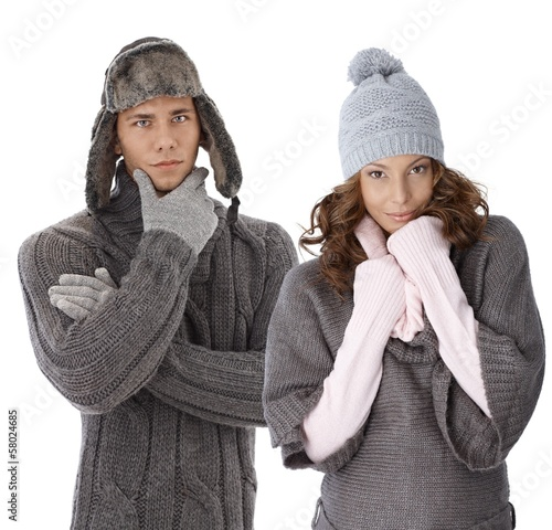 Young couple in warm clothes