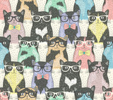 Seamless pattern with hipster cute cats for children - 58024892