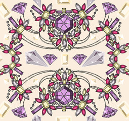 Seamless pastel jewelery necklace kaleidoscope pattern