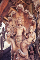 Wood Carving in Sanctuary of truth in Pattaya Thailand