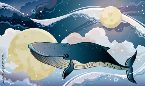 Naklejka Cartoon wieloryb i fantastyczne niebo.