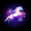 2014 new year design with cartoon horse.