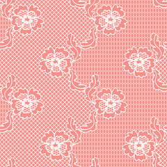 Red lace vector fabric seamless  pattern with flowers