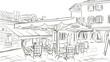 Quadro Street in Roma - sketch  illustration