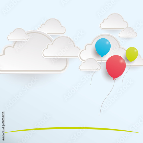 Balloons flowing with the clouds