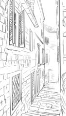 Street in Roma - sketch  illustration
