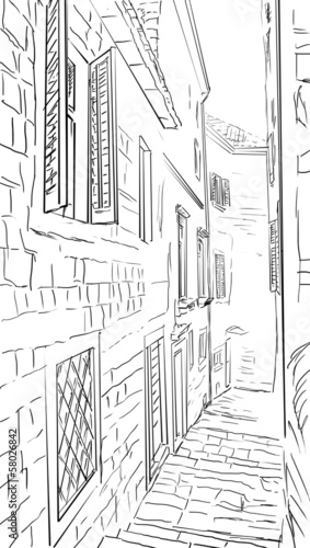 Street in Roma - sketch illustration © ZoomTeam