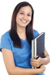 Young female Indian student with books