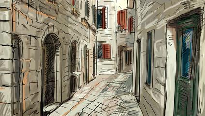 Street in Roma - illustration