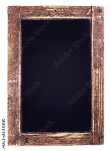 Vintage blackboard on wooden background. Blank Chalk board with