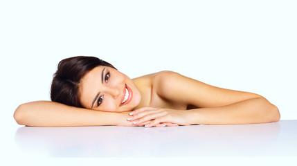 Beauty shot of a young beautiful model. Spa skincare.