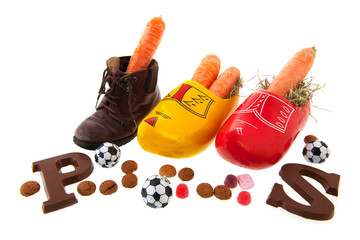 Row shoes with carrots for Dutch Sinterklaas