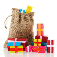 Jute bag with presents