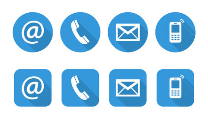 Set of web blue flat icons, two variants  - Contact Us