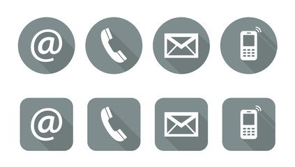 Set of web grey flat icons, two variants  - Contact Us