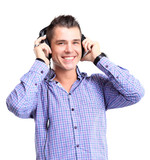 young man in headphones