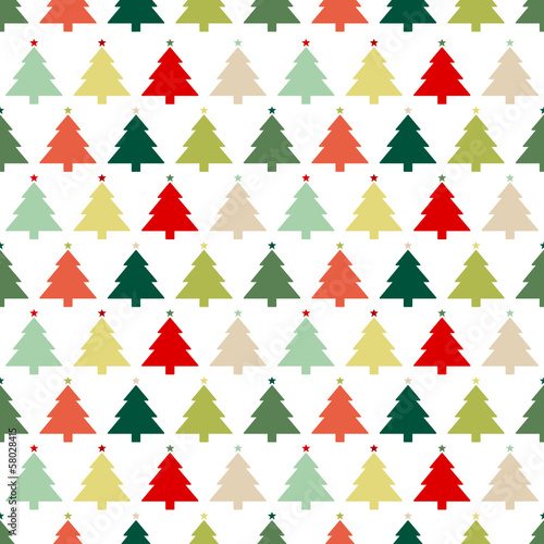 Seamless Pattern Christmas Trees Stars Red/Green