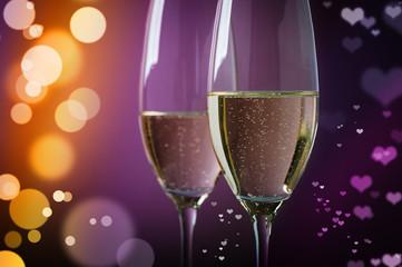 champagner mit herzchenbokeh