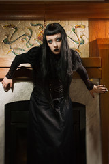 Gothic woman in a castle